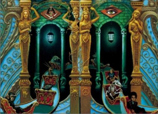 Lados opostos do rodapé do disco. Michael Jackson e um macaco.