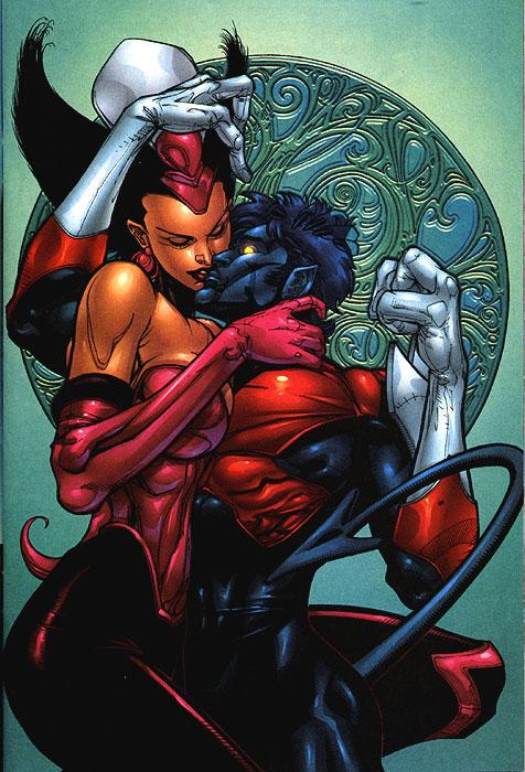 Noturno e a doida da Anna Marie Raven, irmã adotiva do mutante.